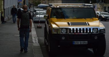 Yellow gas-powered hummer