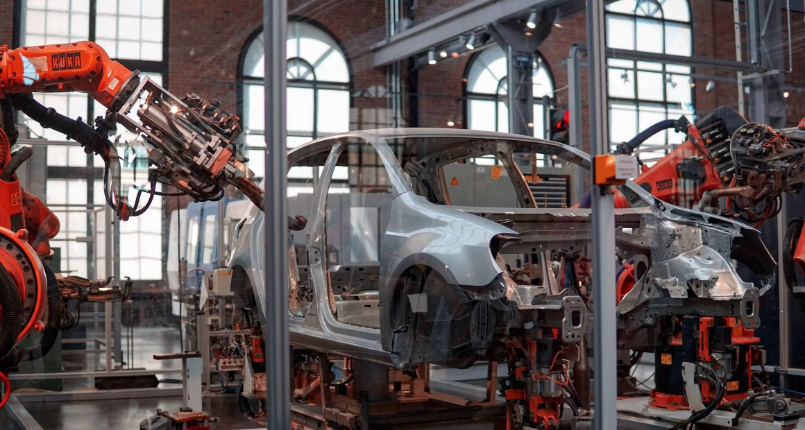 Gray vehicle in a car factory