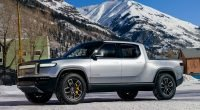Rivian R1T out driving