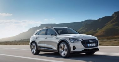 Audi e-tron driving on a road