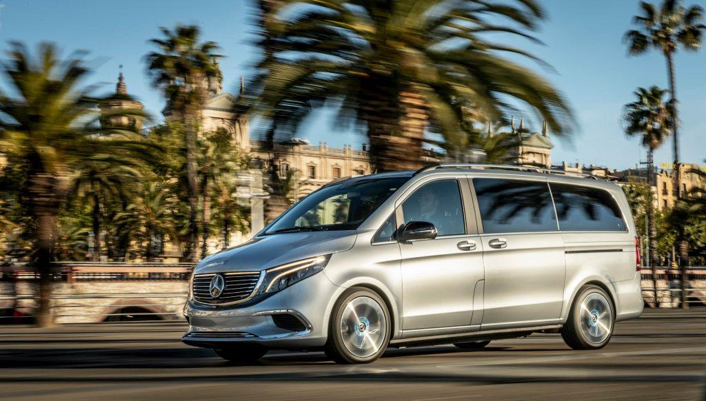 Mercedes EQV Electric Van driving in Barcelona