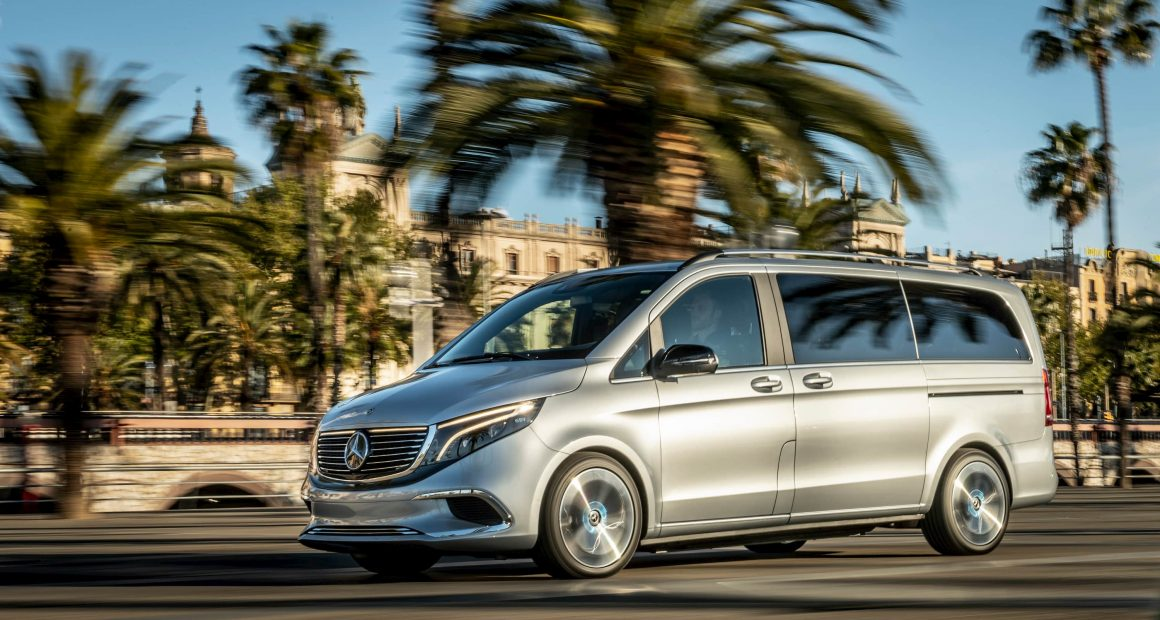 Mercedes EQV driving in Spain